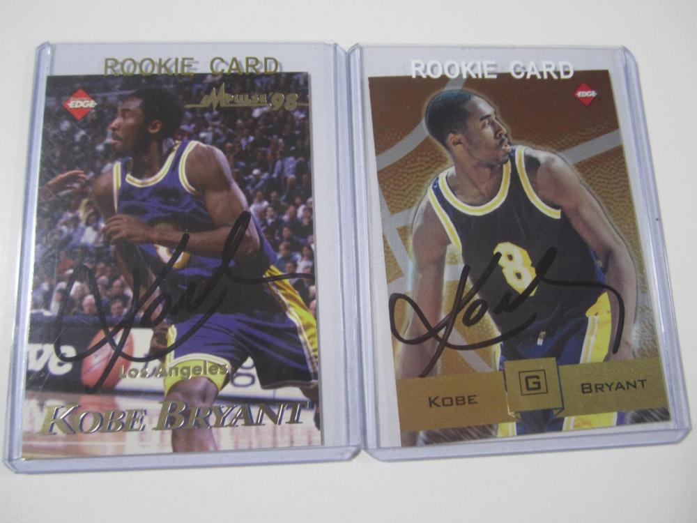 (2)KOBE BRYANT SIGNED AUTOGRAPHED LAKERS CARDS COA