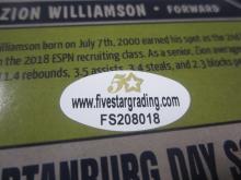 Lot 28: ZION WILLIAMSON SIGNED AUTOGRAPHED DUKE CARD COA