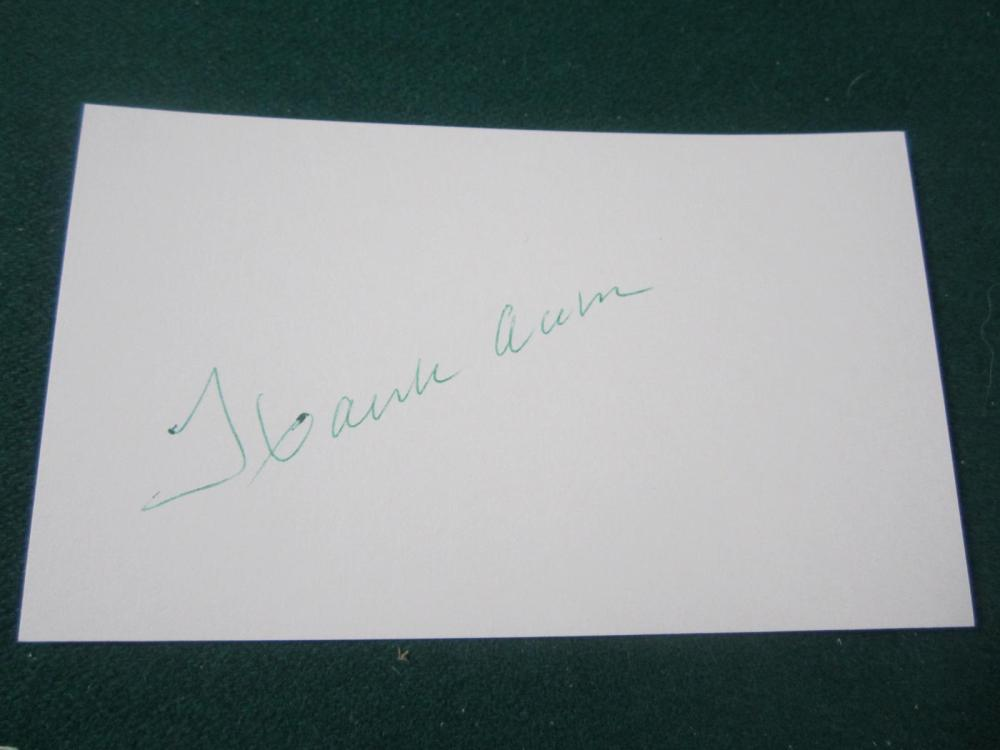 HANK AARON SIGNED AUTOGRAPHED 3X5 INDEX CARD COA