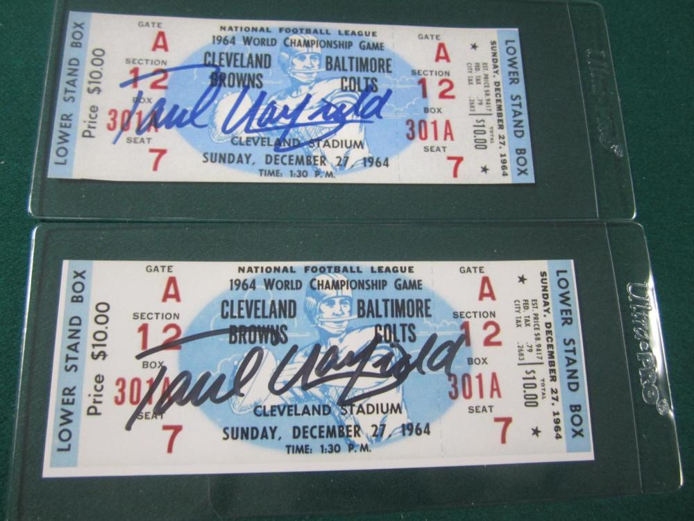 Lot 33: (2)PAUL WARFIELD SIGNED AUTOGRAPHED SUPERBOWL REPLICA TICKETS COA
