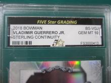 Lot 35: 2018 BOWMAN VLADIMIR GUERRERO JR. STERLING GRADED GEM MINT 10