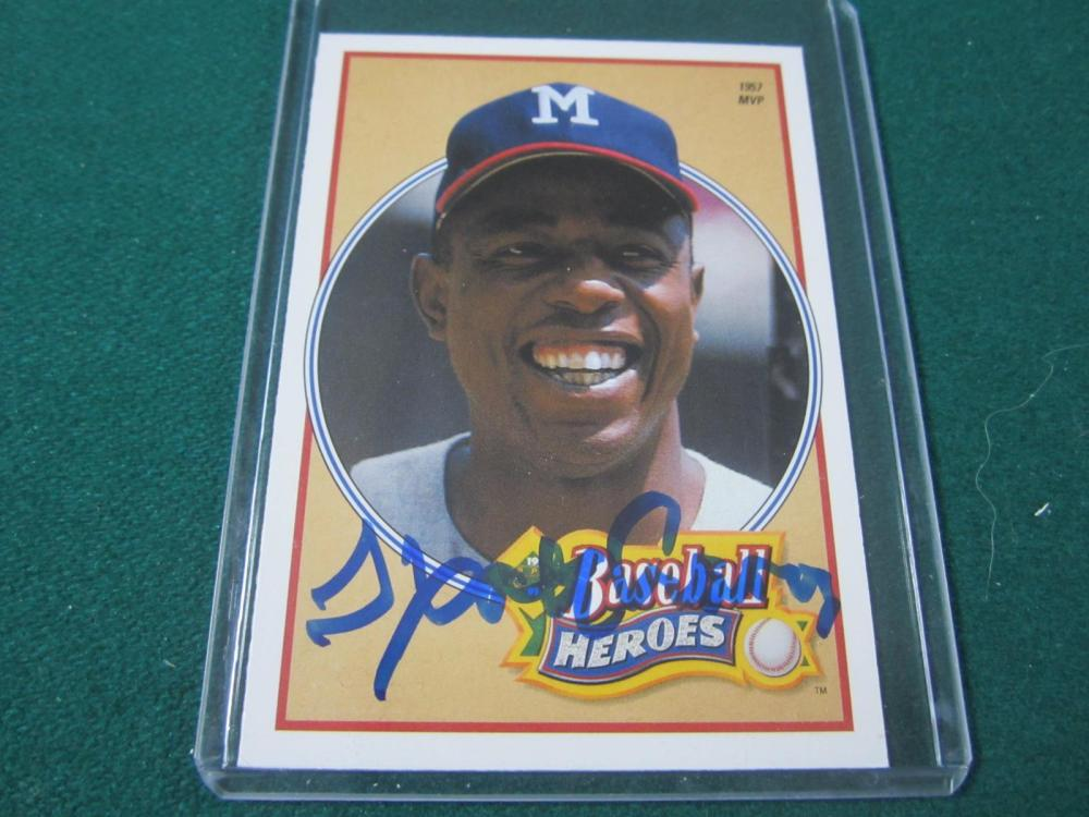 HANK AARON SIGNED AUTOGRAPHED BRAVES CARD COA