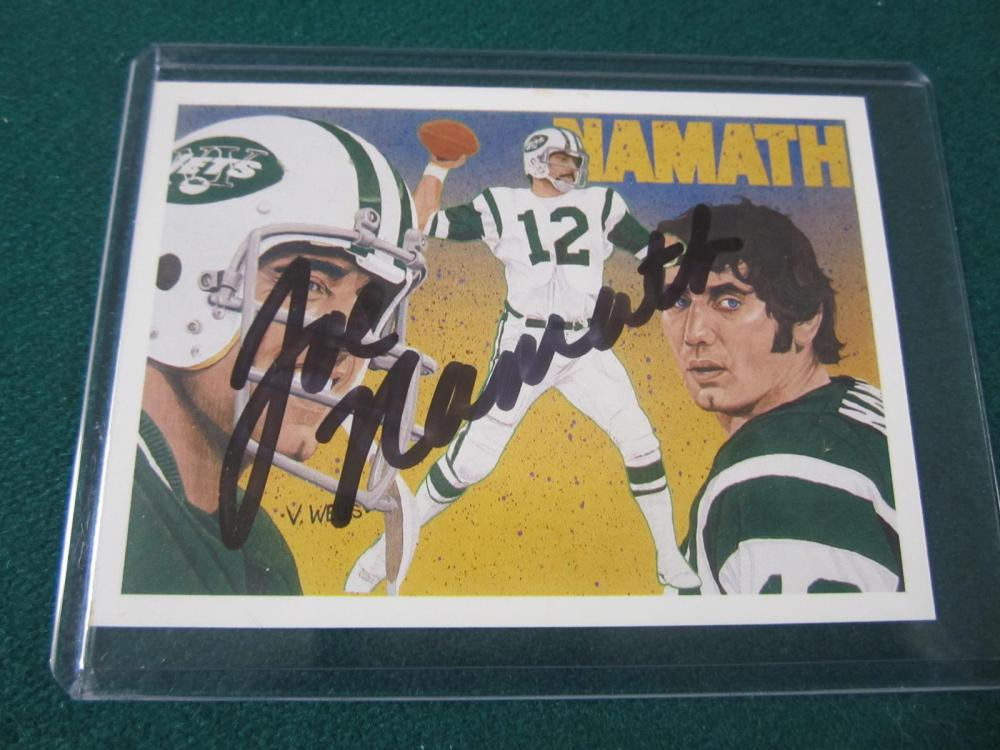 JOE NAMATH SIGNED AUTOGRAPHED JETS CARD COA