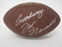 Lot 71: JOE NAMATH SIGNED AUTOGRAPHED NFL SUPERGRIP FOOTBALL COA
