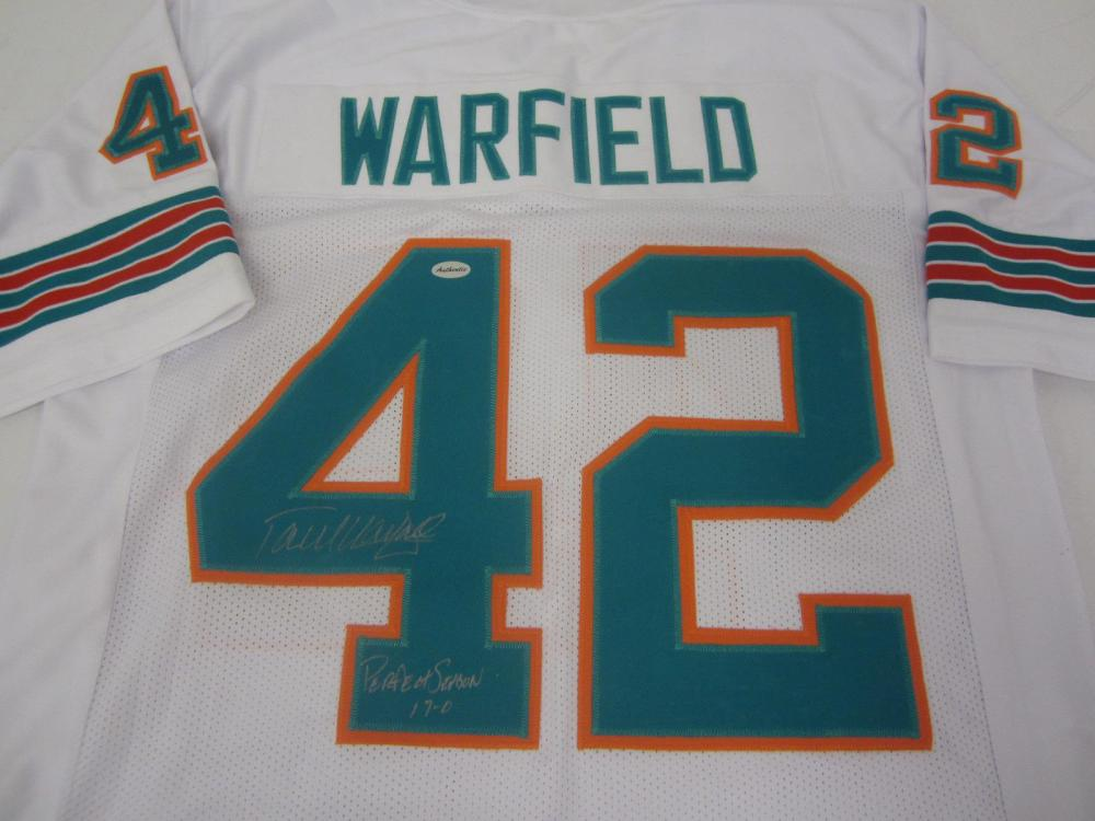 PAUL WARFIELD SIGNED AUTOGRAPHED DOLPHINS JERSEY COA