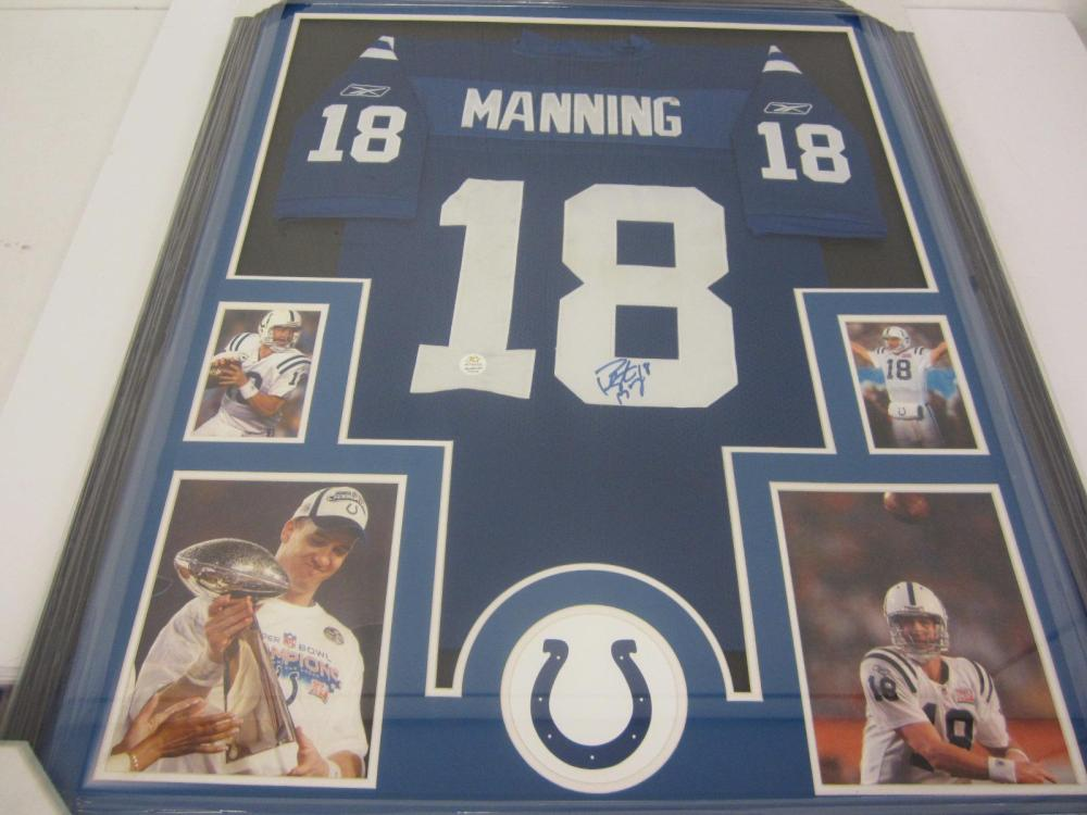 Lot 79: PEYTON MANNING SIGNED AUTOGRAPHED COLTS JERSEY FRAMED COA