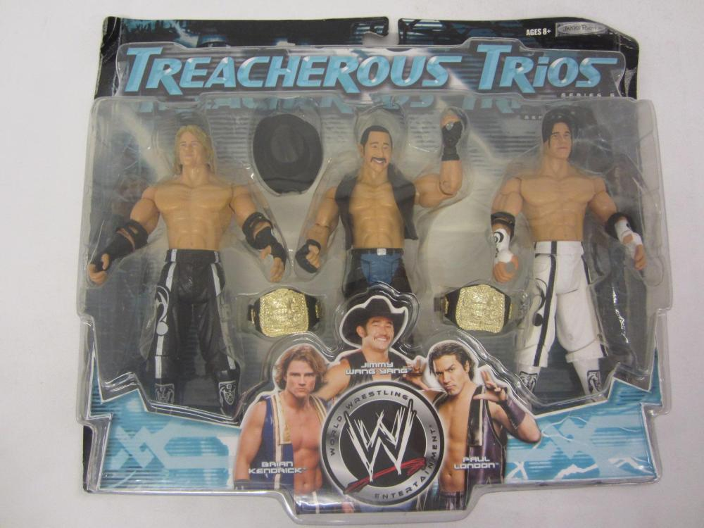 WWE TREACHEROUS TRIOS BRAIN KENDRICK,JIMMY WANG YANG,PAUL LONDON ACTION FIGUERS SEALED