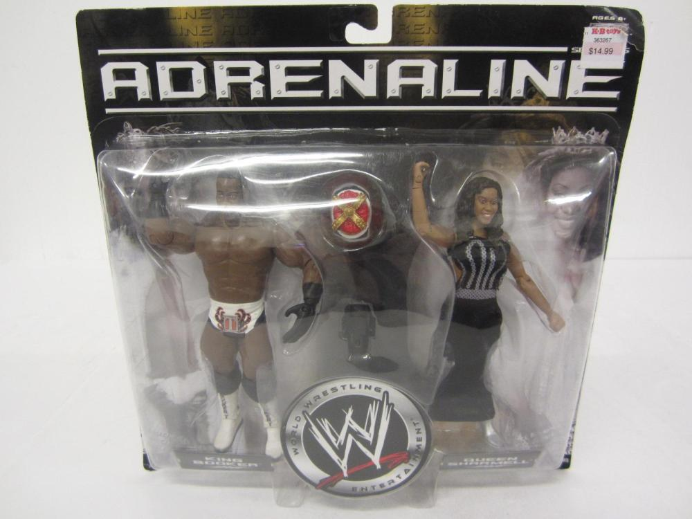 WWE ADRENALINE KING BOOKER,QUEEN SHARMELL FIGURES SEALED