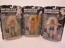 Lot 125: (3)WWE RUTHLESS AGGRESSION BETH PHOENIX,VICTORIA,LILIAN GARCIA FIGURES SEALED