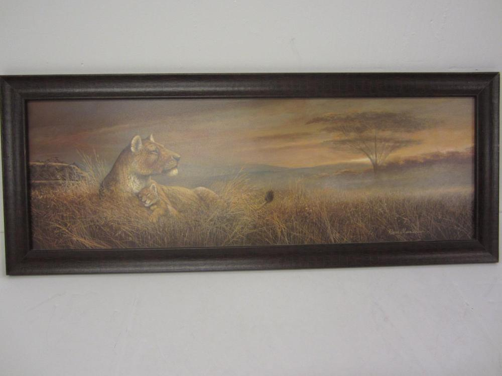 LIONESS PAINTING FRAMED