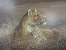 Lot 129: LIONESS PAINTING FRAMED