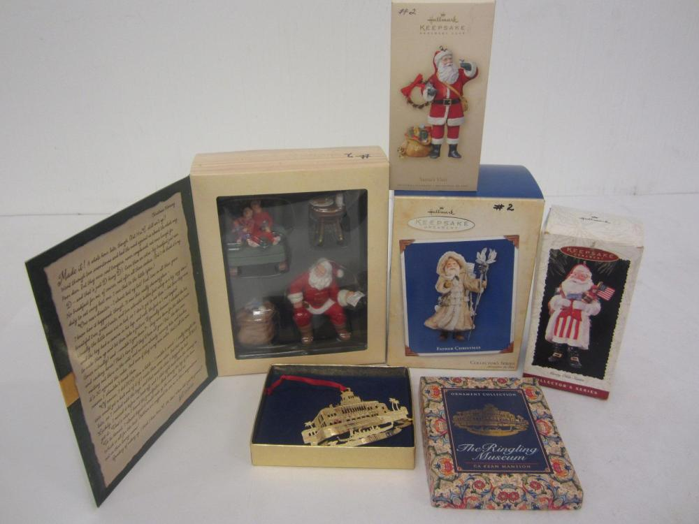 Lot 130: (6)CHRISTMAS ORNIMENTS SANTA
