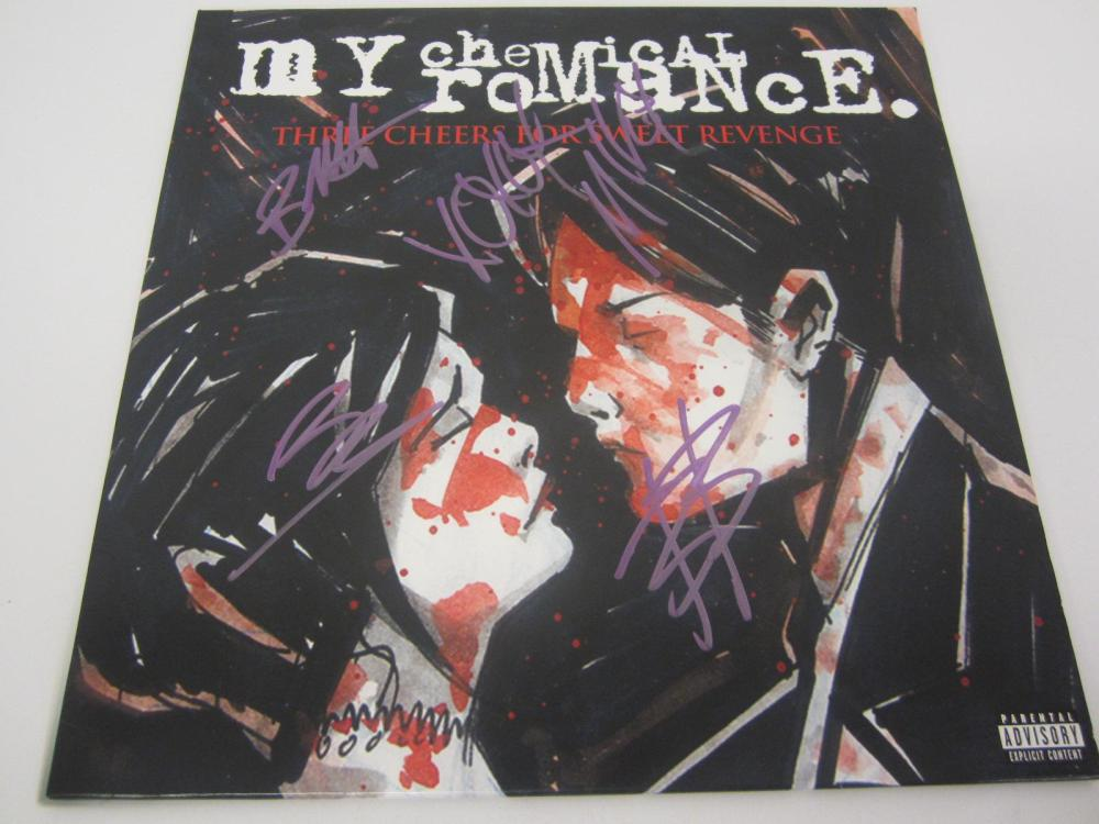MY CHEMICAL ROMANCE BAND SIGNED AUTOGRAPHED RECORD COA BOB,FRANK,RAY,MIKE,GEATH