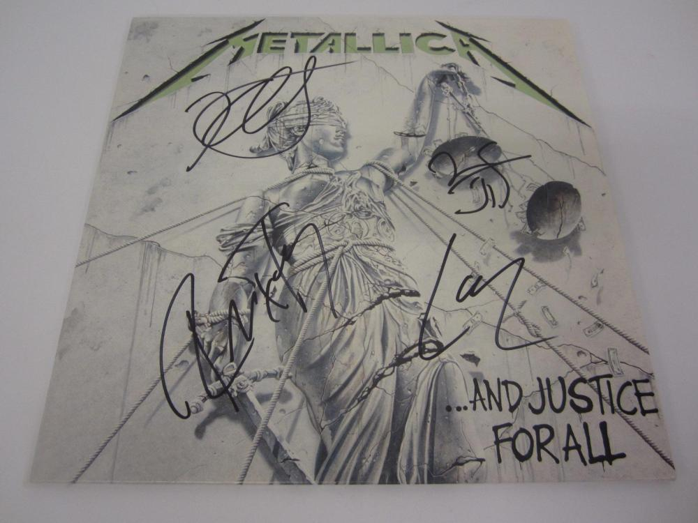 Lot 134: METALLICA BAND SIGNED AUTOGRAPHED RECORD COA ROBERT,LARS,JAMES,KIRK