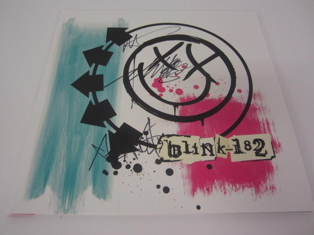 BLINK 182 BAND SIGNED AUTOGRAPHED RECORD COA MARK,TOM,TRAVIS