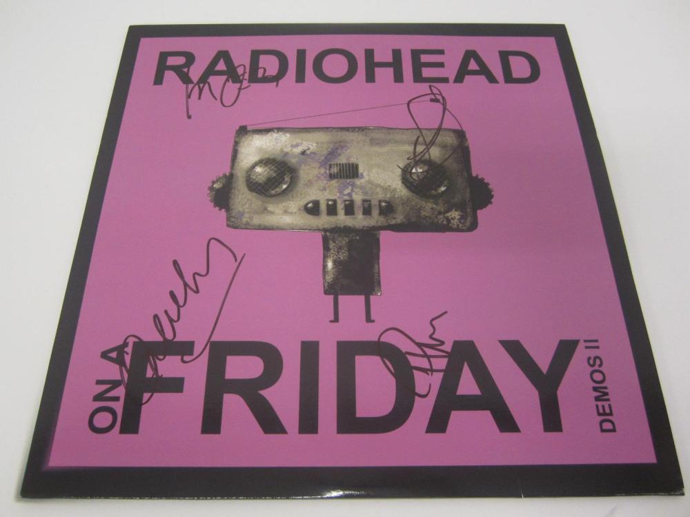 RADIOHEAD BAND SIGNED AUTOGRAPHED RECORD COA THOM,ED,PHILLIP,COLIN
