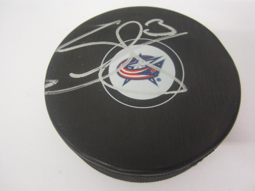 SETH JONES SIGNED AUTOGRAPHED BLUEJACKETS HOCKEY PUCK COA