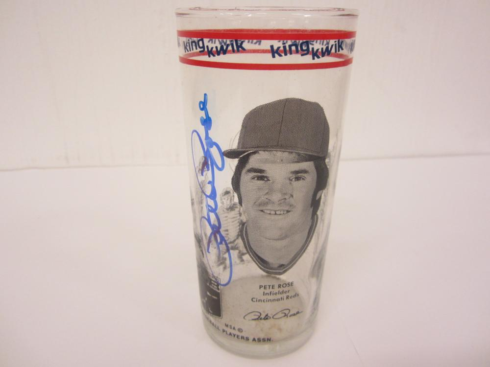 PETE ROSE SIGNED AUTOGRAPHED REDS GLASS COA