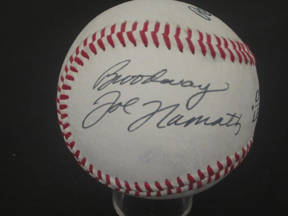 Lot 200: JOE NAMATH SIGNED AUTOGRAPHED BASEBALL COA