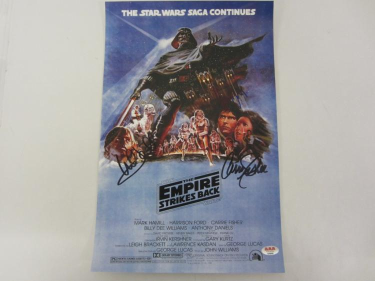 MARK HAMILL, CARRIE FISHER, HARRISON FORD STAR WARS SIGNED AUTOGRAPHED 11X17 PHOTO CERTIFIED AAA COA
