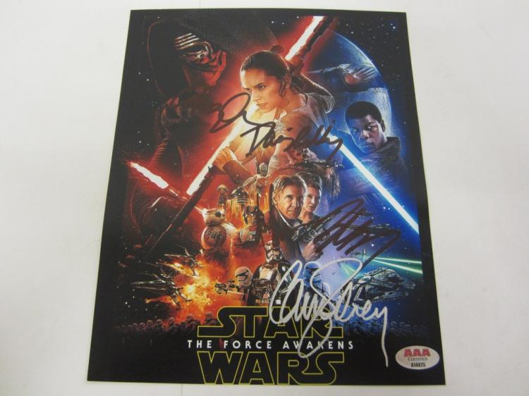 ADAM DRIVER, DAISY RIDLEY, JOHN BOYEGA, CARRIE FISHER STAR WARS SIGNED 8X10 PHOTO CERTIFIED AAA COA