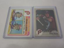 PETE ROSE PHILLIES SIGNED AUTOGRAPHED LOT OF 2 SPORTS CARDS CERTIFIED COA