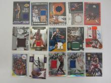LOT OF 15 SPORTS CARDS, GAME USED JERSEY AND AUTO CARDS MICHAEL JORDAN AUTO AND MANY OTHERS