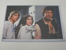 STAR WARS CAST SIGNED 10X16 PHOTO HARRISON FORD, CARIE FISHER, MARK HAMILL CERTIFIED COA