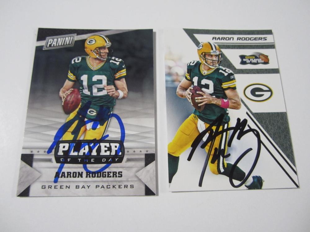 (2)AARON RODGERS SIGNED AUTOGRAPHED PACKERS CARDS COA