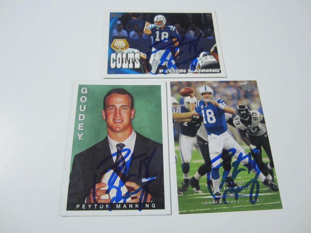 Lot 4: (3)PEYTON MANNING SIGNED AUTOGRAPHED COLTS CARDS COA