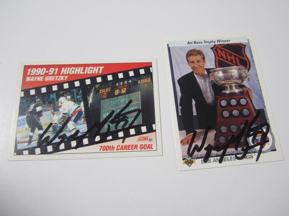 (2)WAYNE GRETZKY SIGNED AUTOGRAPHED KINGS CARDS COA