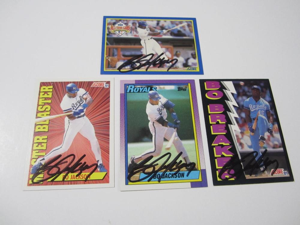 (4)BO JACKSON SIGNED AUTOGRAPHED ROYALS CARDS COA