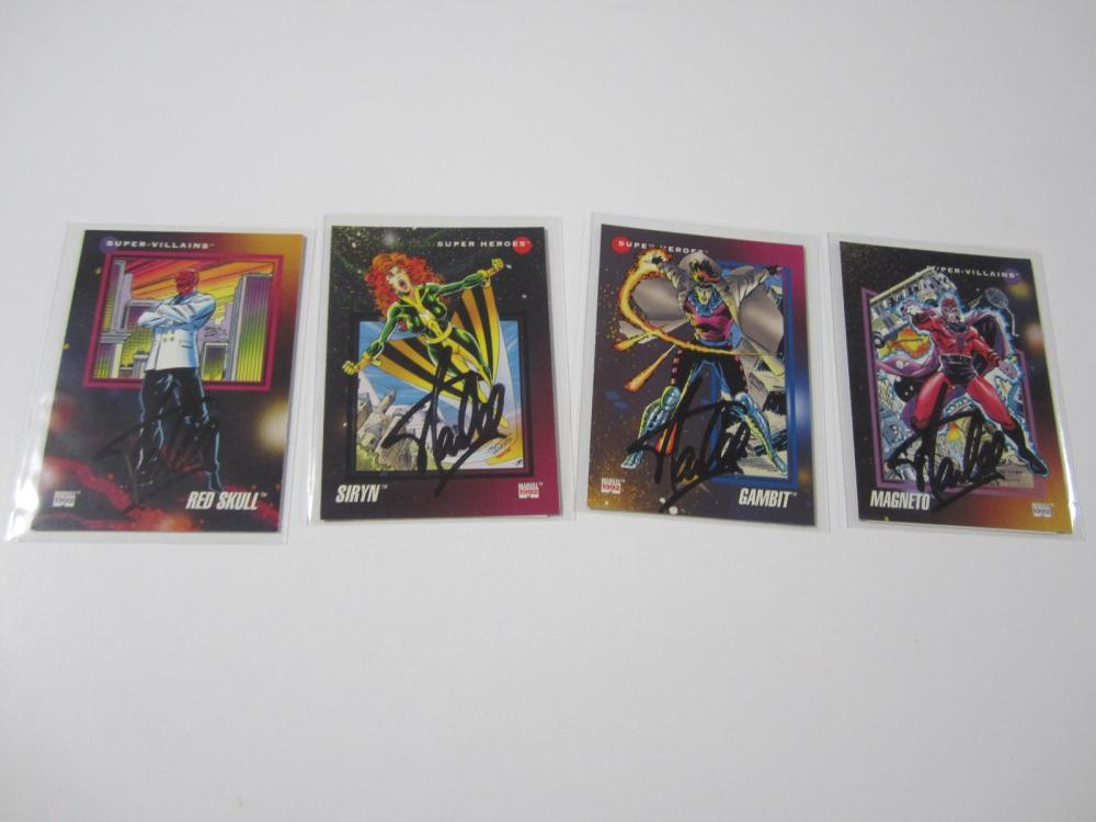(4)STAN LEE SIGNED AUTOGRAPHED MARVEL CARDS COA
