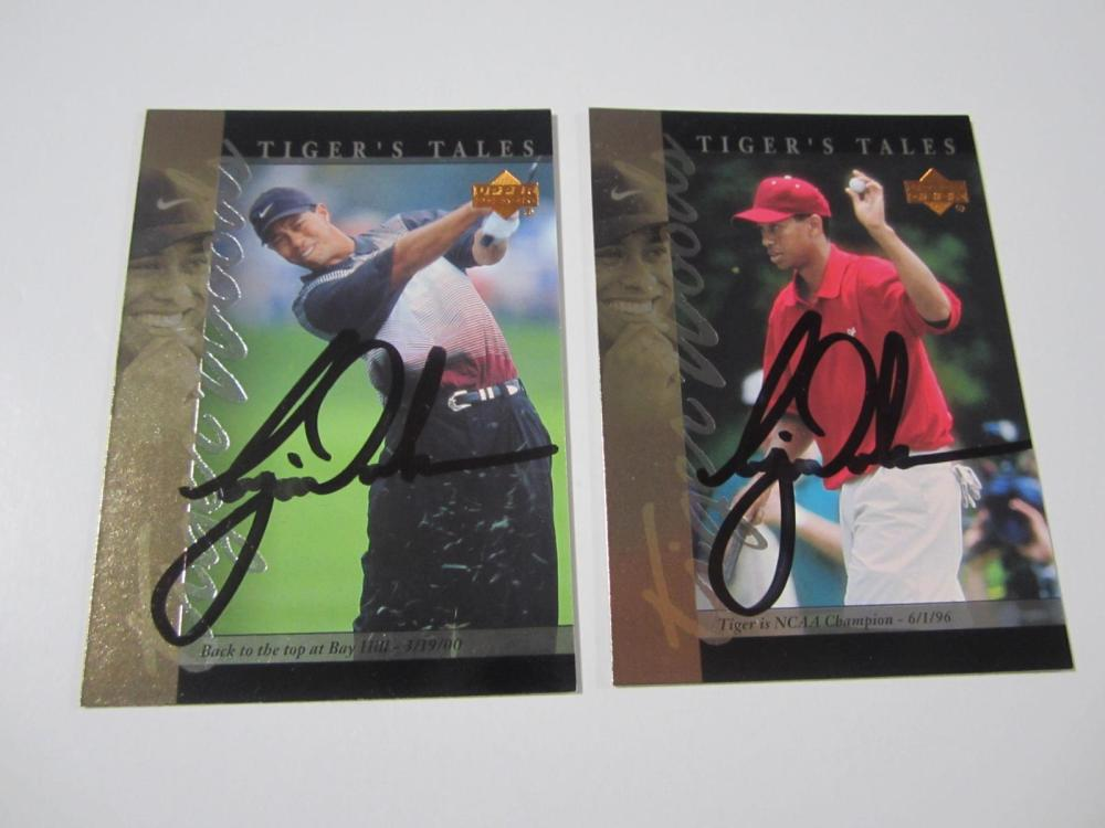 (2)TIGER WOODS SIGNED AUTOGRAPHED PGA GOLF CARDS COA