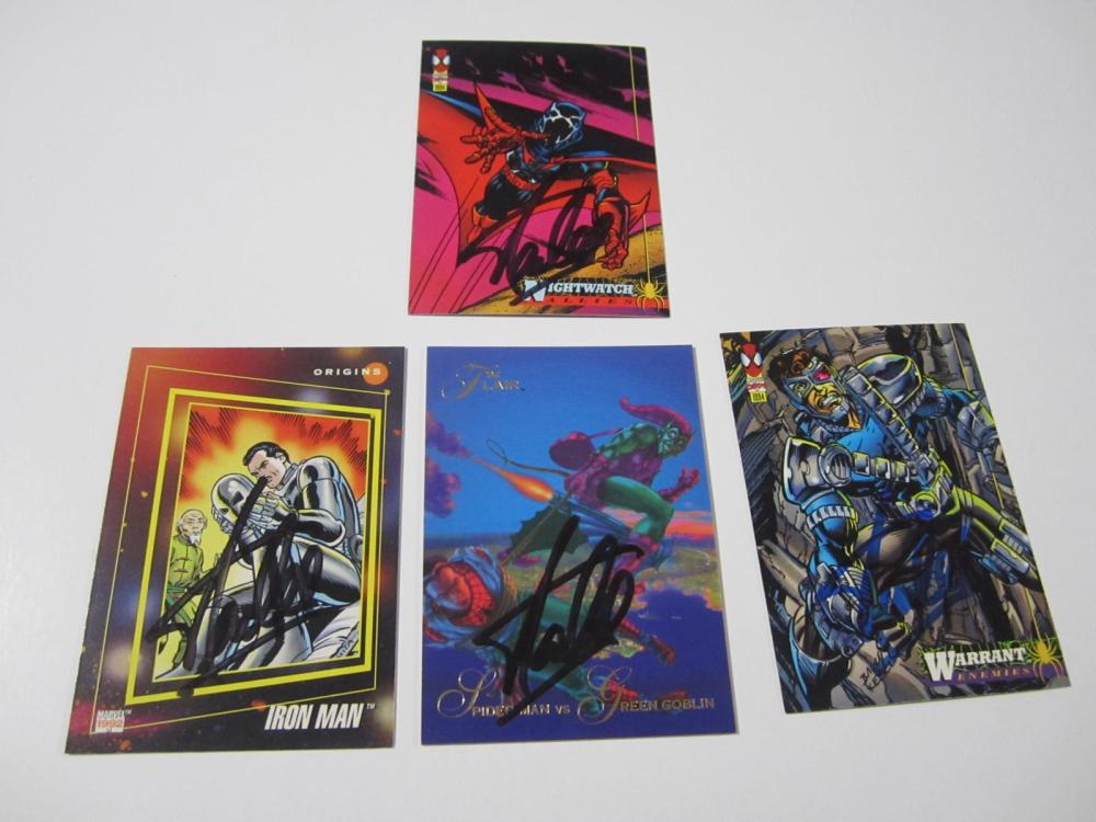 Lot 12: (4)STAN LEE SIGNED AUTOGRAPHED MARVEL CARDS COA