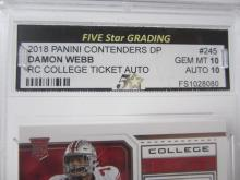 Lot 15: 2018 PANINI CONTENDERS DP DAMON WEBB RC GRADED GEM MINT 10 AUTO
