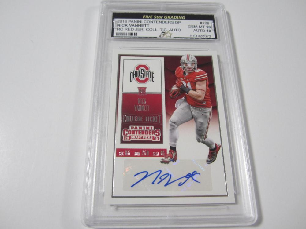 Lot 20: 2016 PANINI CONTENDERS DP NICK VANNETT RC RED GRADED GEM MINT 10 AUTO