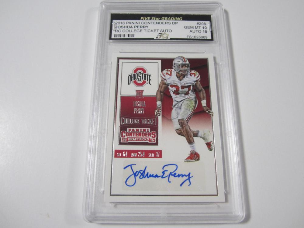 2016 PANINI CONTENDERS DP JOSHUA PERRY RC TICKET GRADED GAM MINT 10 AUTO