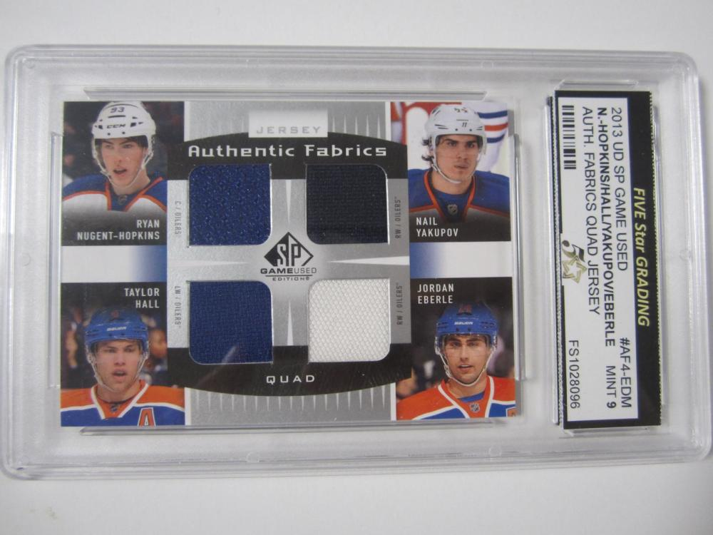 2013 UD SP GAME USED HOPKINS/HALL/YAKUPOV/EBERLE QUAD PIECE OF GAME USED JERSEY CARD GRADED MINT 9