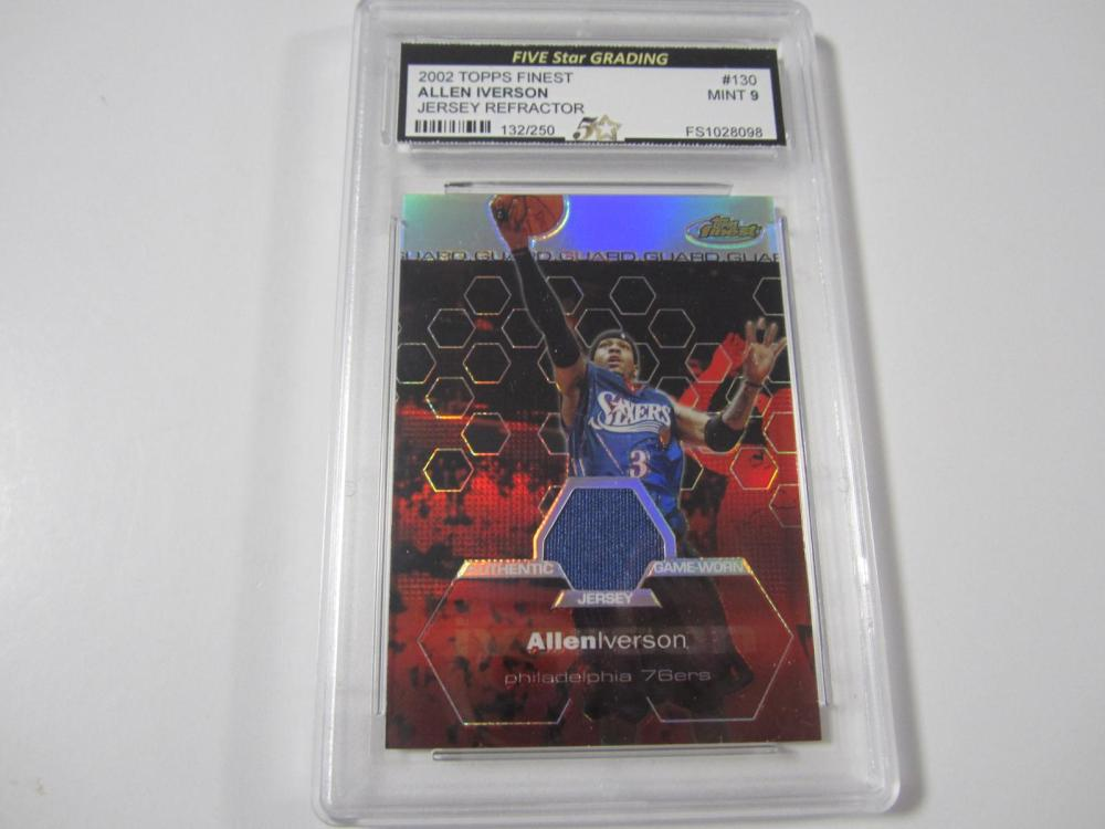 2002 TOPPS FINEST ALLEN IVERSON REFRACTOR PIECE OF GAME USED JERSEY CARD GRADED MINT 9