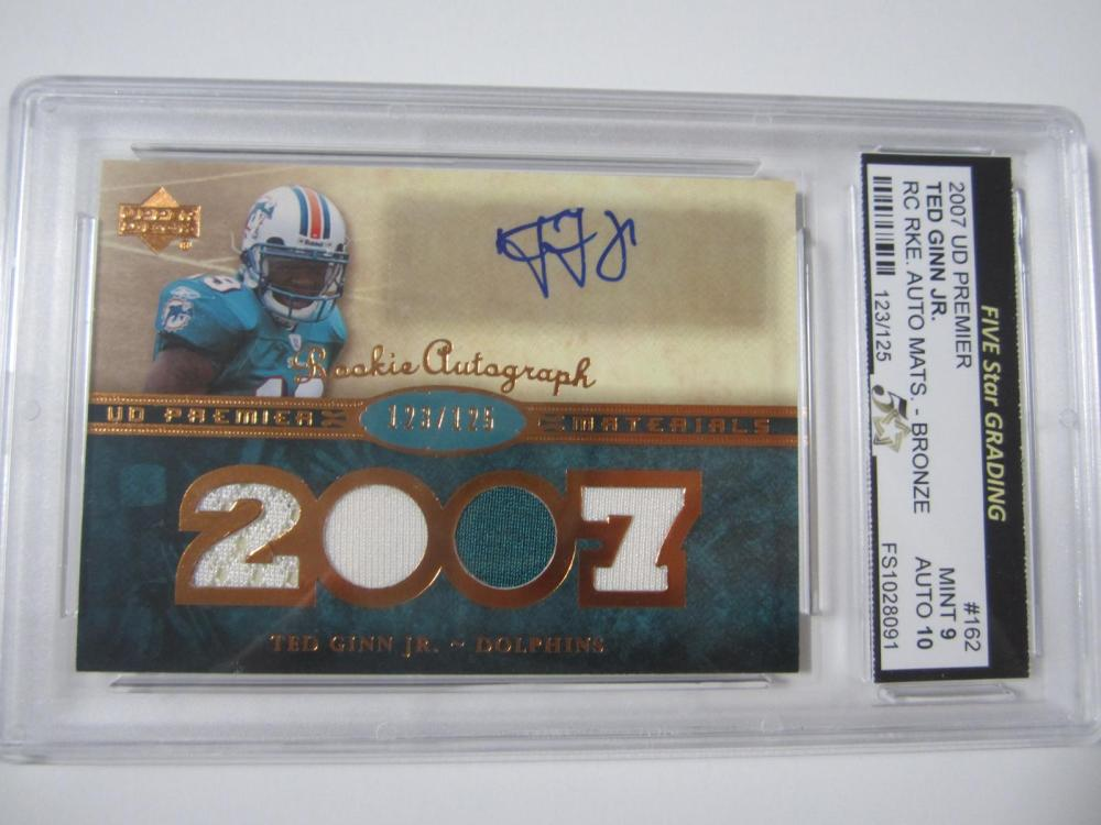Lot 27: 2007 UD PREMIER TED GINN JR. RC RKE.AUTO PIECE OF GAME USED AUTO JERSEY CARD GRADED MINT 9 AUTO 10
