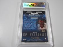 Lot 26: 2002 TOPPS FINEST ALLEN IVERSON REFRACTOR PIECE OF GAME USED JERSEY CARD GRADED MINT 9