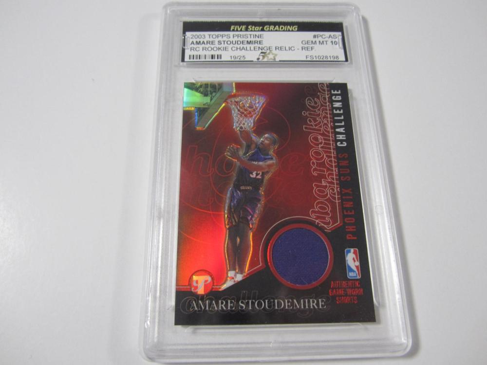 2003 TOPPS PRISTINE AMARE STOUDEMIRE RC RELIC PIECE OF GAME USED JERSEY CARD GRADED GEM MINT 10