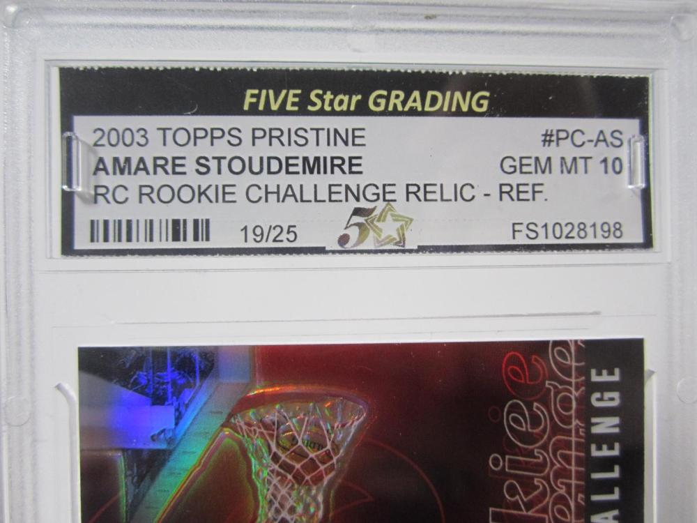 Lot 29: 2003 TOPPS PRISTINE AMARE STOUDEMIRE RC RELIC PIECE OF GAME USED JERSEY CARD GRADED GEM MINT 10
