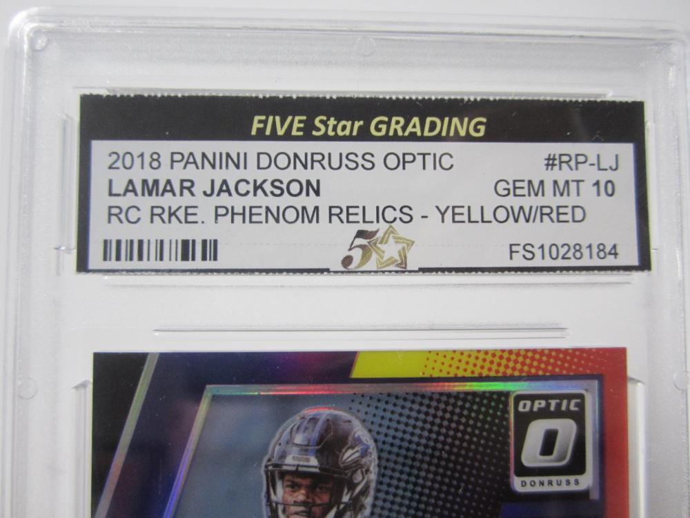 Lot 30: 2018 PANINI DONRUSS OPTIC LAMAR JACKSON RC RKE. RELIC YELLOW PIECE OF GAME USED JERSEY CARD GRADED GEM MINT 10