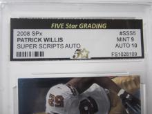 Lot 31: 2008 SPX PATRICK WILLIS SUPER SCRIPTS AUTO GRADED MINT 9 AUTO 10