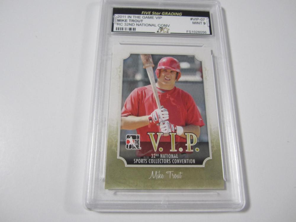 2011 IN THE GAME VIP MIKE TROUT RC 32ND NATIONAL CONV. GRADED MINT 9