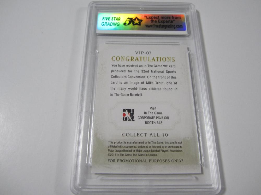 Lot 33: 2011 IN THE GAME VIP MIKE TROUT RC 32ND NATIONAL CONV. GRADED MINT 9