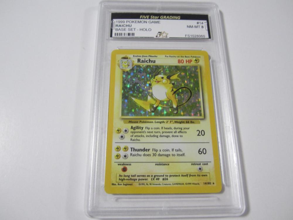 1999 POKEMON GAME RAICHU BASE SET -HOLO GRADED NM-MT 8