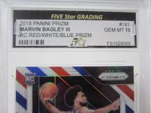 Lot 48: 2018 PANINI PRIZM MARVIN BAGLEY 111 RC RED/WHITE/BLUE GRADED GEM MINT 10